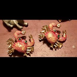 Vintage Enamel Set of Crab Pins